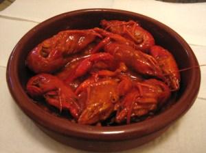 Cangrejos de río en salsa picante
